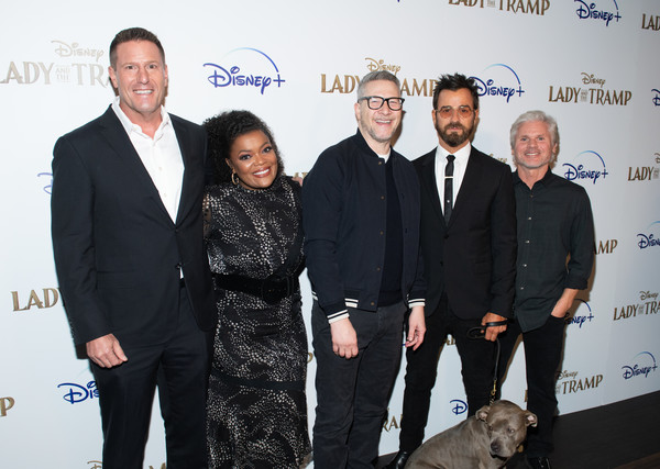 "Disney+'s ""Lady And The Tramp"" New York Screening [lady and the tramp,event,white-collar worker,award,suit,premiere,charlie bean,justin theroux,yvette nicole brown,kevin a. mayer,brigham taylor,l-r,new york,ipic theater,disney]"