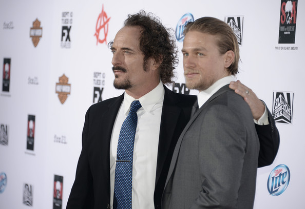 """Charlie Hunnam Actors Kim Coates (L) and Charlie Hunnam attend the season 6 premiere of FX's """"Sons Of Anarchy"""" at Dolby Theatre on September 7, 2013 in Hollywood, California."""