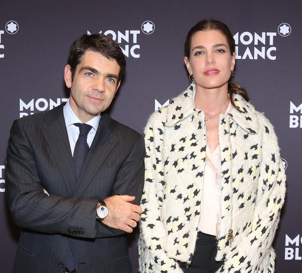Charlotte Casiraghi In this handout image provided by Montblanc, Montblanc CEO Jerome Lambert and Charlotte Casiraghi pose during the Salon International de la Haute Horlogerie as Montblanc announced Charlotte Casiraghi as its new global brand ambassador on January 19, 2015 in Geneva, Switzerland.