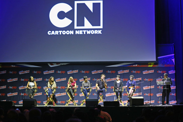Cartoon Network and Adult Swim at Comic Con NY 2016 [display device,stage,event,technology,electronic device,convention,performance,cartoon network adult swim,comic con,l-r,shelby rabara,tom scharpling,kat morris,charlyne yi,aj michalka,jennifer paz,rebecca sugar]