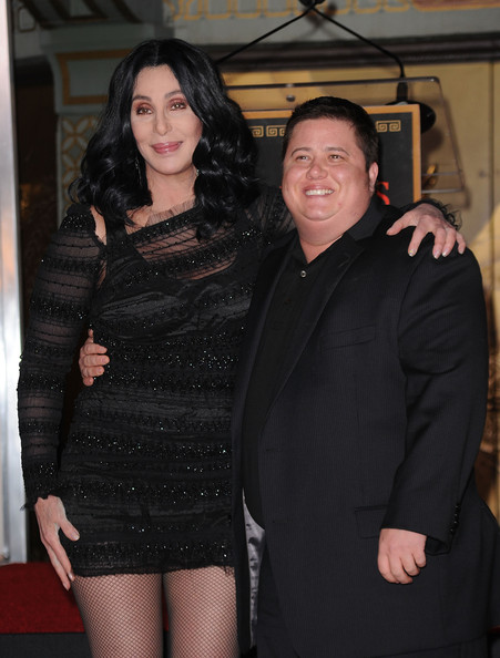 Chaz Bono Singer/actress Cher and Chaz Bono pose as Cher is immortalized with hand and footprint ceremony at Grauman's Chinese Theatre on November 18, 2010 in Hollywood, California.