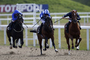 Paul Hanagan riding Tasleet (C) win The Betfred World Snooker Starts Today Greenham Stakes from Knife Edge (R) at Chelmsford racecourse on April 16, 2016 in Chelmsford, England.