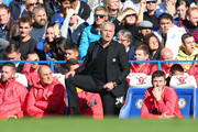 Jose Mourinho, Manager of Manchester United reacts during the Premier League match between Chelsea FC and Manchester United at Stamford Bridge on October 20, 2018 in London, United Kingdom.