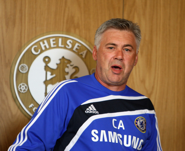 Carlo Ancelotti Carlo Ancelotti, Manager of Chelsea attends a press conference for the unveiling of new signing Daniel Sturridge at the Cobham training ground on July 9, 2009 in Cobham, Surrey.