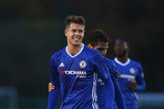 Marco Van Ginkel of Chelsea celebrates with Cesc Fabregas after scoring his sids third goal during the Premier League 2 match between Chelsea and Southampton at Chelsea Training Ground on November 21, 2016 in Cobham, England.