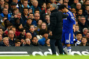 Diego Costa of Chelsea is consoled by Jose Mourinho, manager of Chelsea as he walks off the pitch after picking up an injury during the Barclays Premier League match between Chelsea and Stoke City at Stamford Bridge on April 4, 2015 in London, England.