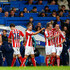 Charlie Adam Photos - Charlie Adam of Stoke City celebrates with team-mates after scoring his team's first goal during the Barclays Premier League match between Chelsea and Stoke City at Stamford Bridge on April 4, 2015 in London, England. - Chelsea v Stoke City - Premier League