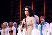 "Stephanie J. Block speaks onstage with the cast of ""The Cher Show"" at ""The Cher Show"" Broadway Opening Night at Neil Simon Theatre on December 03, 2018 in New York City."