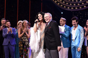 "Stephanie J. Block and Bob Mackie pose onstage with the cast of ""The Cher Show"" at ""The Cher Show"" Broadway Opening Night at Neil Simon Theatre on December 03, 2018 in New York City."