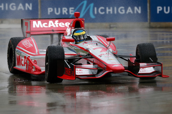 Sebastien Bourdais of France, drives the #7 Dragon Racing Chevrolet during qualifying for the IZOD IndyCar Series Chevrolet Indy Dual in Detroit at the Raceway at Belle Isle Park on May 31, 2013 in Detroit, Michigan.