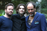(L-R) Actors Timothee Chalamet, Armie Hammer and Italian Director Luca Guadagnino attend 'Chiamami Col Tuo Nome (Call Me By Your Name)' at De Russie Hotel on January 24, 2018 in Rome, Italy.