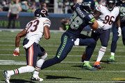 Tight end Jimmy Graham #88 of the Seattle Seahawks runs with the ball after making a reception during the first quarter of the game against the Chicago Bears at CenturyLink Field on September 27, 2015 in Seattle, Washington.