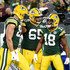 Randall Cobb Photos - Randall Cobb #18 of the Green Bay Packers is congratulated by teammates after scoring a touchdown during the fourth quarter of a game against the Chicago Bears at Lambeau Field on September 9, 2018 in Green Bay, Wisconsin. - Chicago Bears vs. Green Bay Packers