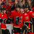 Mikael Backlund Mark Giordano Photos - Johnny Gaudreau #13, Mikael Backlund #11, Sean Monahan #23, and Mark Giordano #5 of the Calgary Flames celebrate after scoring the first goal in an NHL game on December 31, 2017 at the Scotiabank Saddledome in Calgary, Alberta, Canada. - Chicago Blackhawks v Calgary Flames