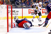Sergei Bobrovsky #72 of the Columbus Blue Jackets stops a shot from Patrick Kane #88 of the Chicago Blackhawks during the first period on October 20, 2018 at Nationwide Arena in Columbus, Ohio.