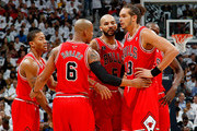 The Chicago Bulls starters huddle against the Atlanta Hawks in Game Six of the Eastern Conference Semifinals in the 2011 NBA Playoffs at Phillips Arena on May 12, 2011 in Atlanta, Georgia.  NOTE TO USER: User expressly acknowledges and agrees that, by downloading and/or using this photograph, User is consenting to the terms and conditions of the Getty Images License Agreement.