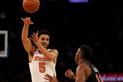 Courtney Lee #5 of the New York Knicks passes the ball sa David Nwaba #11 of the Chicago Bulls defends at Madison Square Garden on January 10, 2018 in New York City.The Chicago Bulls defeated the New York Knicks 122-119 in double overtime. NOTE TO USER: User expressly acknowledges and agrees that, by downloading and or using this Photograph, user is consenting to the terms and conditions of the Getty Images License Agreement
