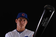 Anthony Rizzo #44 of the Chicago Cubs poses during Chicago Cubs Photo Day on February 20, 2018 in Mesa, Arizona.