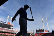 Anthony Rizzo #44 of the Chicago Cubs steps out of the dugout to bat in the first inning against the Cincinnati Reds at Great American Ball Park on June 22, 2018 in Cincinnati, Ohio.