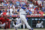 Anthony Rizzo #44 of the Chicago Cubs singles to right field to drive in a run in the seventh inning against the Cincinnati Reds at Great American Ball Park on May 20, 2018 in Cincinnati, Ohio. The Cubs won 6-1.