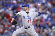 Jon Lester #34 of the Chicago Cubs pitches in the second inning of a game against the Cincinnati Reds at Great American Ball Park on April 21, 2017 in Cincinnati, Ohio.