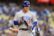 Anthony Rizzo #44 of the Chicago Cubs looks on after striking out during the first inning of a game against the Los Angeles Dodgers at Dodger Stadium on June 26, 2018 in Los Angeles, California.