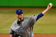Jon Lester #34 of the Chicago Cubs pitches in the first inning during the game between the Miami Marlins and the Chicago Cubs at Marlins Park on June 24, 2017 in Miami, Florida.