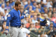Anthony Rizzo #44 of the Chicago Cubs reacts to a strike out during the first inning of a game against the Milwaukee Brewers at Miller Park on June 12, 2018 in Milwaukee, Wisconsin.
