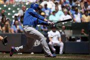 Anthony Rizzo #44 of the Chicago Cubs strikes out in the first inning against the Milwaukee Brewers at Miller Park on May 27, 2018 in Milwaukee, Wisconsin.