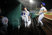 Starting pitcher Jon Lester #34 of the Chicago Cubs walks to the clubhouse during a second inning rain delay against the Washington Nationals at Nationals Park on September 7, 2018 in Washington, DC.
