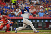 Anthony Rizzo #44 of the Chicago Cubs hits a two-run double in the fifth inning against the Cincinnati Reds at Great American Ball Park on May 19, 2018 in Cincinnati, Ohio. Chicago defeated Cincinnati 10-0.