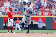 Anthony Rizzo #44 of the Chicago Cubs rounds second base after hitting a two-run home run during the fifth inning of the game against the Cincinnati Reds at Great American Ball Park on June 24, 2018 in Cincinnati, Ohio. Cincinnati defeated Chicago 8-6.
