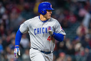 Anthony Rizzo #44 of the Chicago Cubs runs out an RBI single during the fifth inning against the Cleveland Indians at Progressive Field on April 25, 2018 in Cleveland, Ohio.