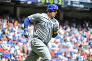 Anthony Rizzo #44 of the Chicago Cubs hits a homerun in the second inning during Opening Day against Miami Marlins at Marlins Park on March 29, 2018 in Miami, Florida.