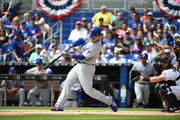 Anthony Rizzo #44 of the Chicago Cubs bats in the first inning during Opening Day against the Miami Marlins at Marlins Park on March 29, 2018 in Miami, Florida.