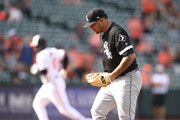 Jose Ruiz #66 of the Chicago White Sox looks on after giving up a solo home run to Adam Jones #10 of the Baltimore Orioles in the  seventh inning during a baseball game at Oriole Park at Camden Yards on September 16, 2018 in Baltimore, Maryland.