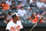 Adam Jones #10 of the Baltimore Orioles hits a solo home run in the seventh inning during a baseball game against the Chicago White Sox at Oriole Park at Camden Yards on September 16, 2018 in Baltimore, Maryland.