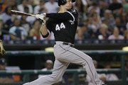Justin Morneau #44 of the Chicago White Sox strikes out against the Detroit Tigers during the fifth inning at Comerica Park on August 30, 2016 in Detroit, Michigan. The Tigers defeated the White Sox 8-4.