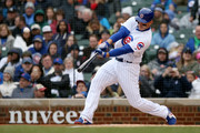 Anthony Rizzo #44 of the Chicago Cubs hits a home run in the first inning against the Chicago White Sox at Wrigley Field on May 12, 2018 in Chicago, Illinois.