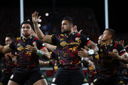 Liam Messam (C) of the Chiefs and teammates perform the Haka prior to kickoff during the 2017 British & Irish Lions tour match between the Chiefs and the British & Irish Lions at the Waikato Stadium on June 20, 2017 in Hamilton, New Zealand.