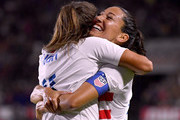 Christen Press #23 of United States celebrates her goal with Mallory Pugh #11 to take a 3-0 lead over Chile during the second half at StubHub Center on August 31, 2018 in Carson, California.