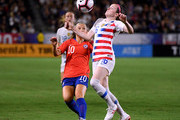 Rose Lavelle #16 of United States attempts to control the ball in front of Yanara Aedo #10 of Chile during the first half at StubHub Center on August 31, 2018 in Carson, California.