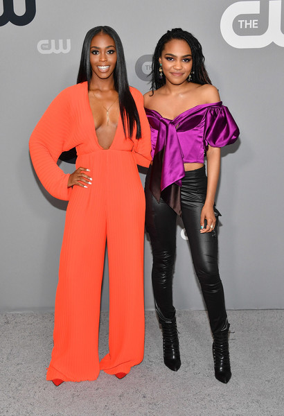 2018 CW Network Upfront [clothing,fashion,pink,orange,shoulder,fashion design,joint,fashion model,model,dress,nafessa williams,china anne mcclain,cw network upfront,new york city,the london hotel,cw network]
