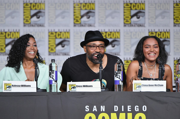 Comic-Con International 2018 - 'Black Lightning' Special Video Presentation And Q&A [event,moustache,fiction,comics,facial hair,convention,costume,nafessa williams,cress williams,china anne mcclain,special video presentation,q a,l-r,san diego convention center,california,comic-con international,comic-con international 2018]