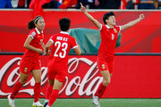 Wang Shanshan #9 of China PR celebrates scoring their second goal against New Zealand during the FIFA Women's World Cup Canada 2015 Group A match between China PR and New Zealand at Winnipeg Stadium on June 15, 2015 in Winnipeg, Canada.