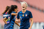 Christen Press #23 celebrates with Megan Rapinoe #15 of the United States after Rapinoe scored during the first half against China at FirstEnergy Stadium on June 12, 2018 in Cleveland, Ohio.