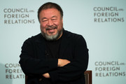 Chinese artist and activist Ai Weiwei speaks at the Council of Foreign Relations, November 2, 2016 in New York City. Weiwei is in New York for four large gallery shows in the month of November. Three of the shows feature tree-inspired sculptures and the fourth will feature clothing from refugee camps that Weiwei visited.