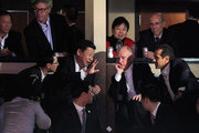 Chinese Vice President Xi Jinping (2nd L), California Gov. Jerry Brown (2nd R), Los Angeles Mayor Antonio Villaraigosa (R) and DreamWorks Animation CEO Jeffrey Katzenberg (2nd Row, L) attend the Los Angeles Lakers and Phoenix Suns NBA basketball game at Staples Center on February 17, 2012 in Los Angeles, California. Xi wrapped up his five-day visit to the U.S. by attending the Lakers game. NOTE TO USER: User expressly acknowledges and agrees that, by downloading and/or using this Photograph, user is consenting to the terms and conditions of the Getty Images License Agreement.