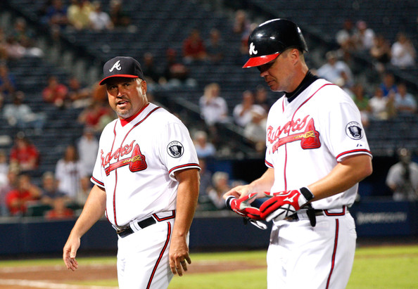 Chipper Jones and Fredi Gonzalez - Florida Marlins v Atlanta Braves