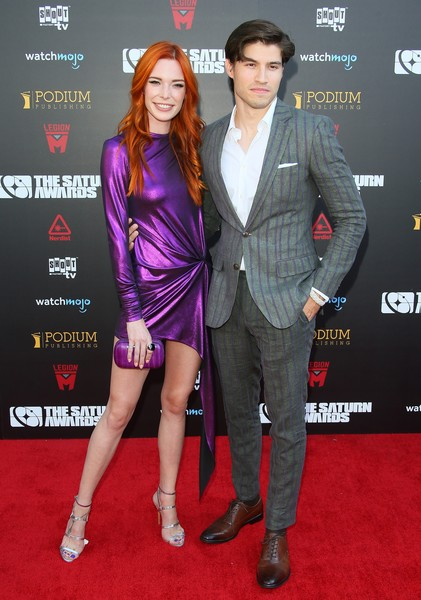45th Annual Saturn Awards - Arrivals [clothing,carpet,red carpet,premiere,fashion,event,flooring,suit,cocktail dress,muscle,arrivals,chloe dykstra,cameron cuffe,california,los angeles,avalon theater,l,saturn awards,annual saturn awards]
